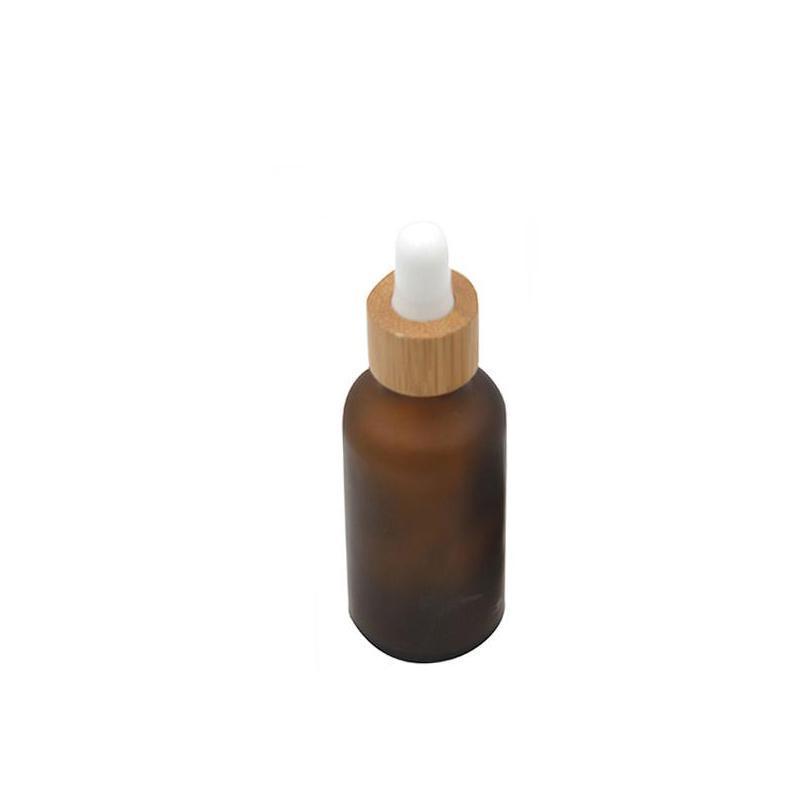 15ml 30ml 50ml 서리로 덥은 앰버 화이트 유리 드롭퍼 병 대나무 모자 1oz 유리 대나무 에센셜 오일 병