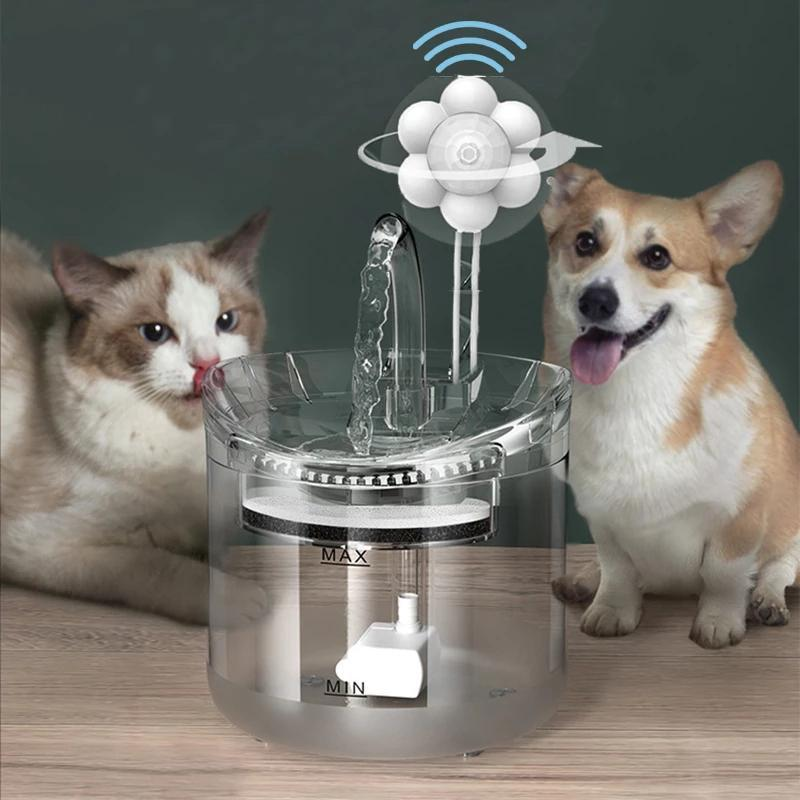 Cat Bowls & Feeders 2L Intelligent Water Fountain With Faucet Dog Dispenser Transparent Drinker Pet Drinking Filters Feeder Motion Sensor