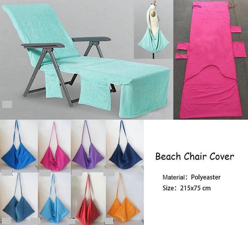 New Beach Sed Sedie Copertura 9 colori Copertura della sedia a sdraio Portatile con cinturino da spiaggia Doppio strato Coperta spessa