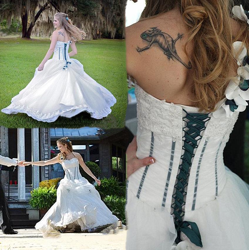 Country A Line Abiti da sposa Abiti fatti a mano Flowers One Spalla Applique Lace Up Sexy Indietro Vestidos de Fiesta Abiti da sposa Fornal
