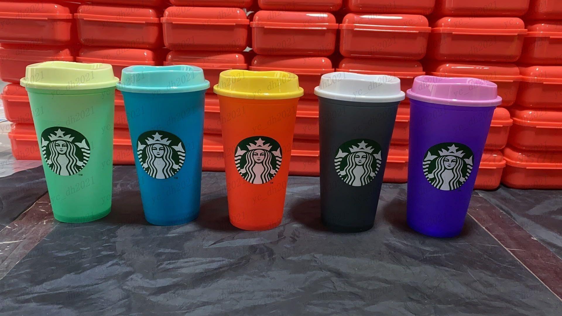 Starbucks 16oz تغيير لون البهلونز أكواب عصير الشرب البلاستيك مع أكواب القهوة السحرية الشفاه كوستوم