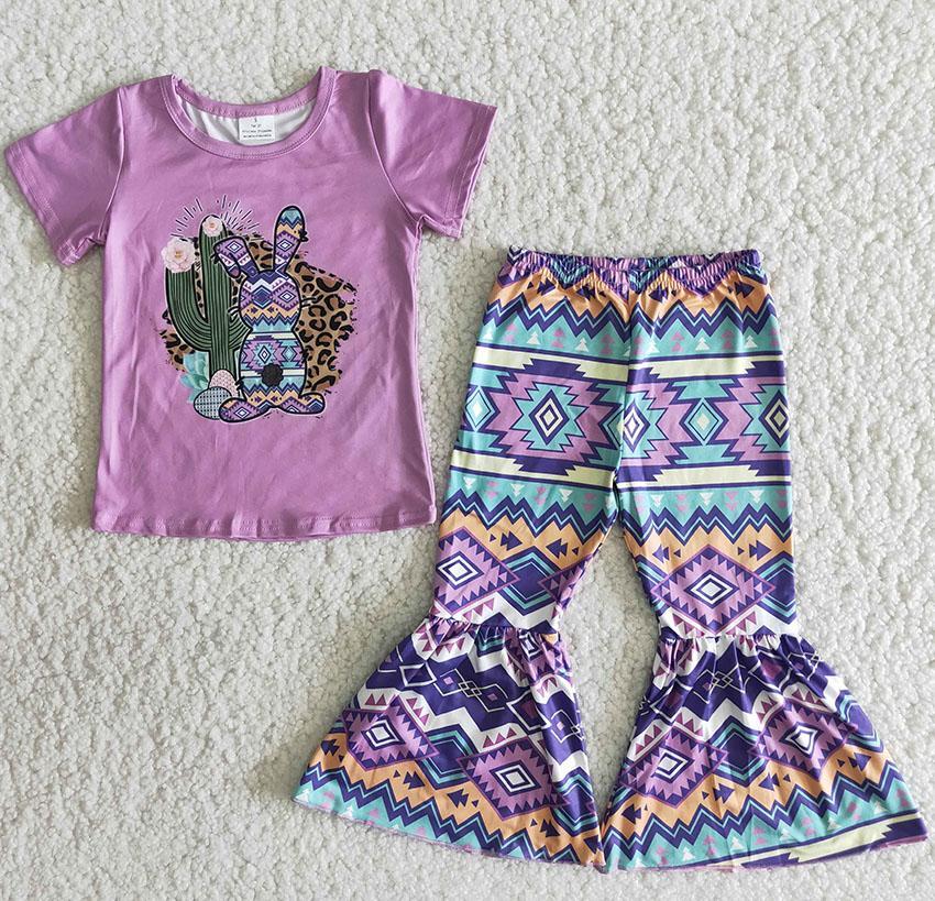 Vente chaude Bunny Imprimer Vêtements Enfants Vente en gros Chilrden's Boutique Vêtements Lapin Jour de Pâques Baby Filles Bell Pantalon Set