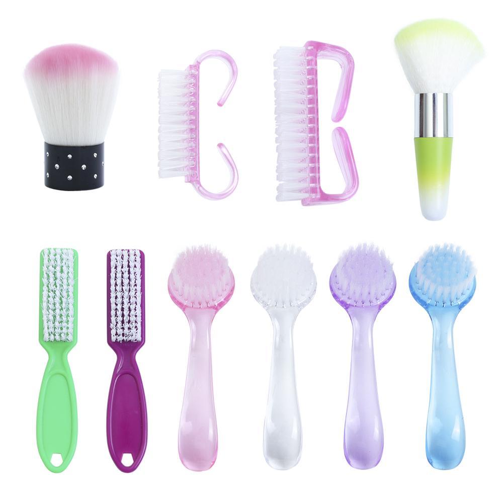 1 ADET Plastik Manikür Pedikür Fırça Tırnak Temizleme Araçları Yumuşak Kaldır Toz Makyaj Fırçalar Tırnak Bakım Aksesuarları Rastgele Renk TR095