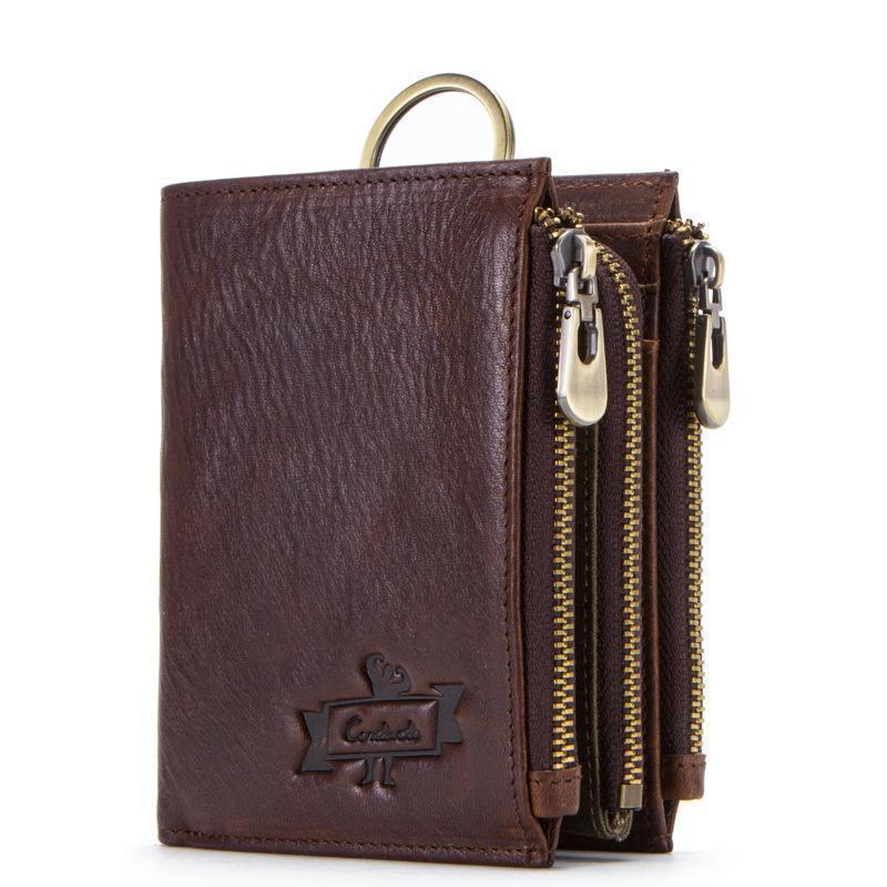 YourSeason Boys Retro Zipper Solid Short Standard Wallets Detachable Multifunction Men Tri-fold Coin Purse 2021 Genuine Leather