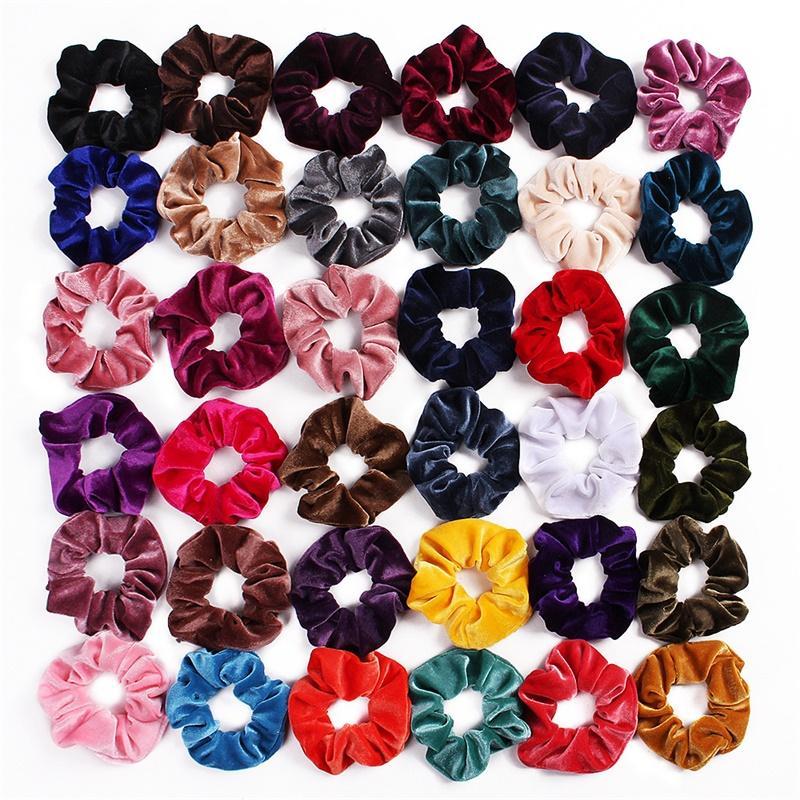 Девушка женские бархатные эссенциальные волосы галстуки аксессуары для привязки kottail держатель Щечкие полосы волос велюровые петли волос Pleuche Headwear 50 шт. FJ3362 37 Y2