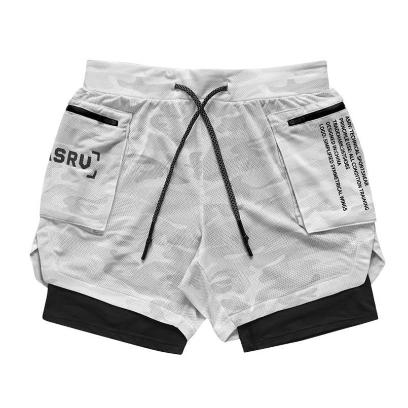 ASRV Hombre Doble Deck Running Sport Camuflaje Shorts Gym Fitness Entrenamiento Bermudas Bodybuilding Quick Seco Masculino Pantalones cortos 210729