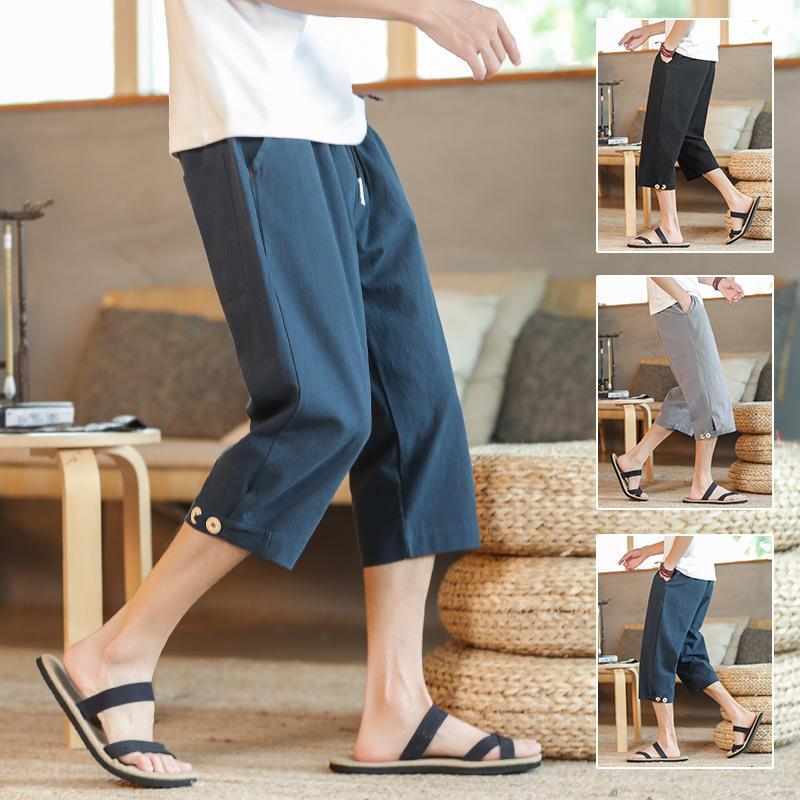 2021 Yeni Erkekler Cepler Yaz Rahat Buzağı-Uzunluk Pantolon erkek Boy Renkli Sweatpants Erkek Modası Kore Diz Boyu Şort 1F73
