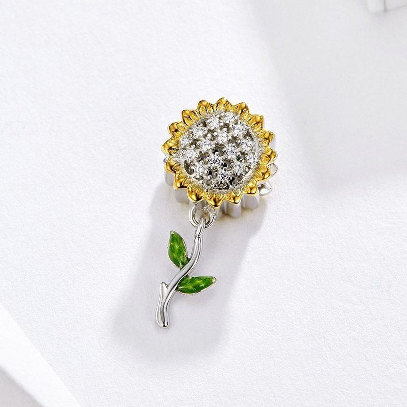 Girassol Girls Charme Rose Pingente DIY 925 para Pulseira Esterlina e Ouro Pandora Fit Plated Genuine Jewelry Gold Silver Bdpit