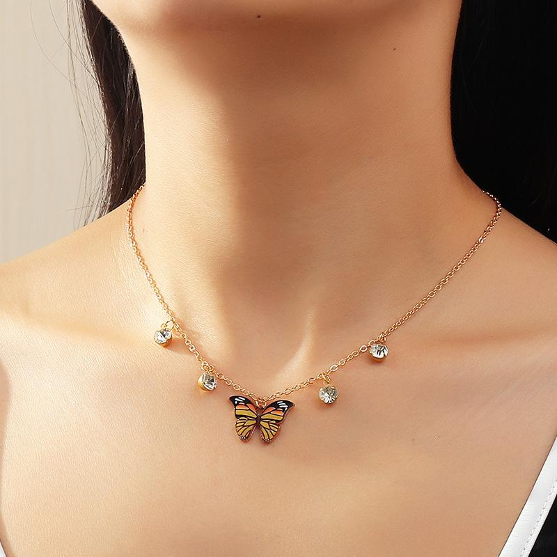 NZ1324 takı: kelebek kolye kolye, moda kişilik, yaka kemik zinciri matkap ile