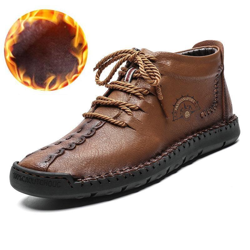 Botas 2021 Moda Hombres de alta calidad Tobillo de cuero dividido Zapatos de nieve de piel de invierno de piel de invierno de piel caliente 38-48