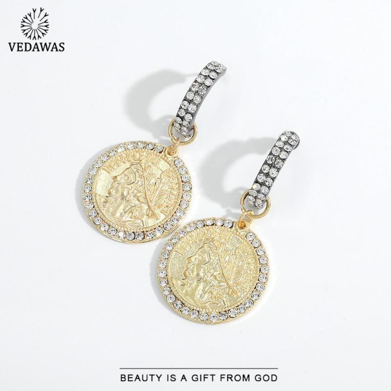 Dangle Chandelier Vedawas Vintage Goccia Orecchini a goccia per le donne 2021 oro argento colore metallo ritratto ritratto di moda gioielli regalo del partito