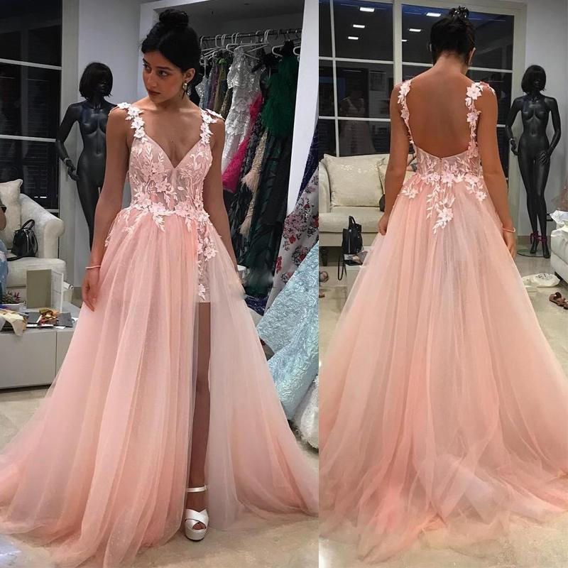 2021 Pink Appliques Prom Dresses Spaghetti Straps V Neck Evening Dress High Split Formal Party Gowns vestido formatura