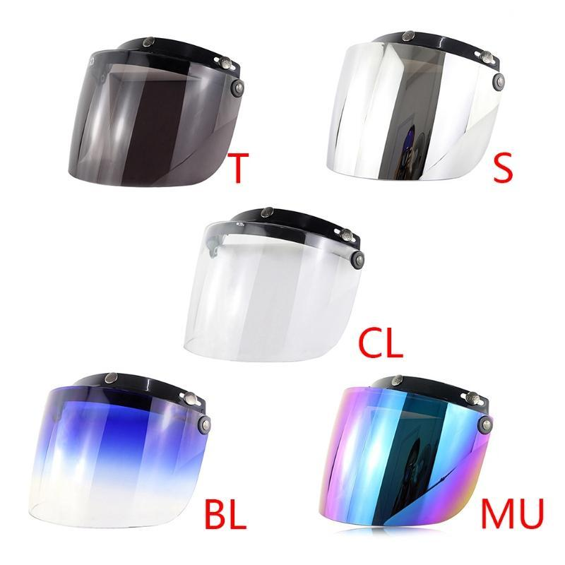 Windproof 3-Snap Visor Lens Shield for Motorcycle Helmets Flip Up Down Open Face 4X7F