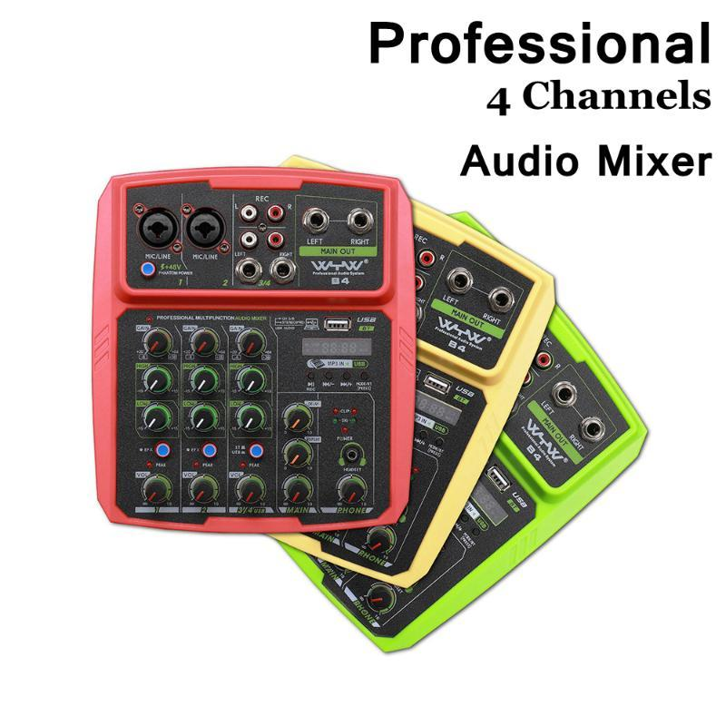 Profesyonel Mikrofon 4 Kanallar Ses Karıştırma Konsolu Bluetooth Ses Arabirimi Mikrofon USB Ses Mikser 48 V Phantom Güç