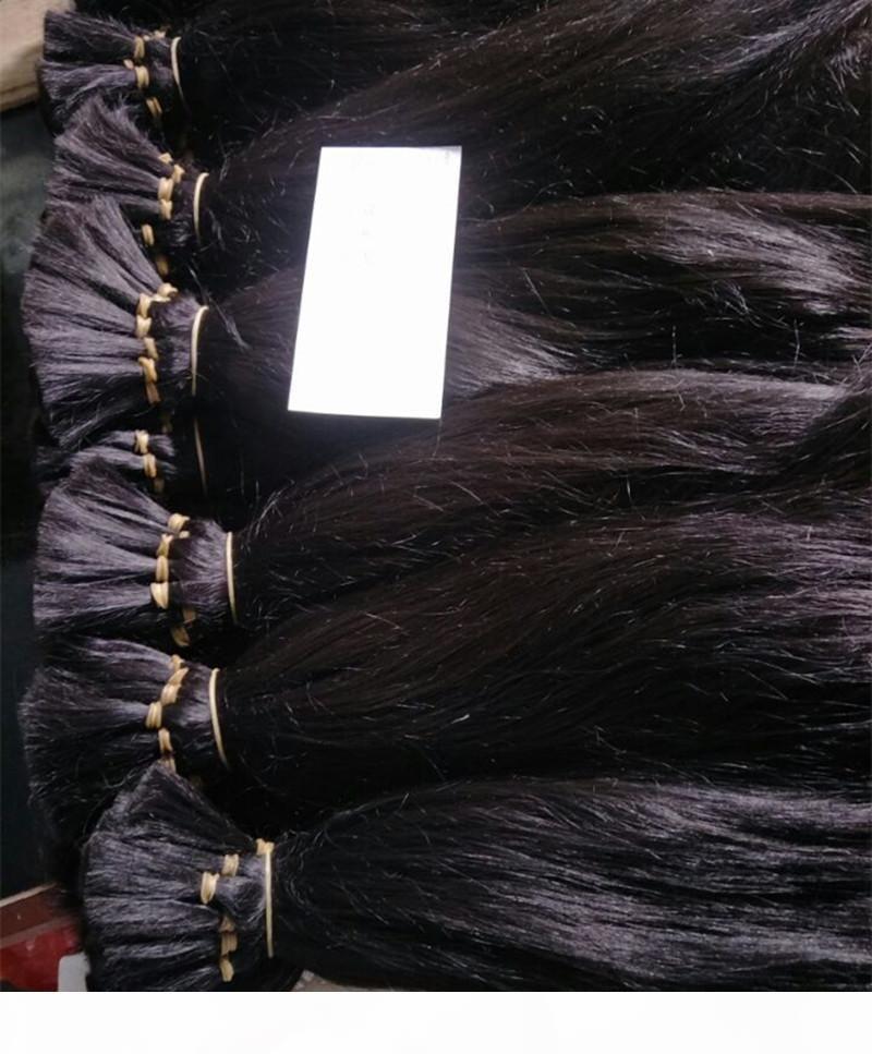 300g Lot de cheveux de temple indien brut sans coiffe de trame Couleur naturelle 12-26 pouce