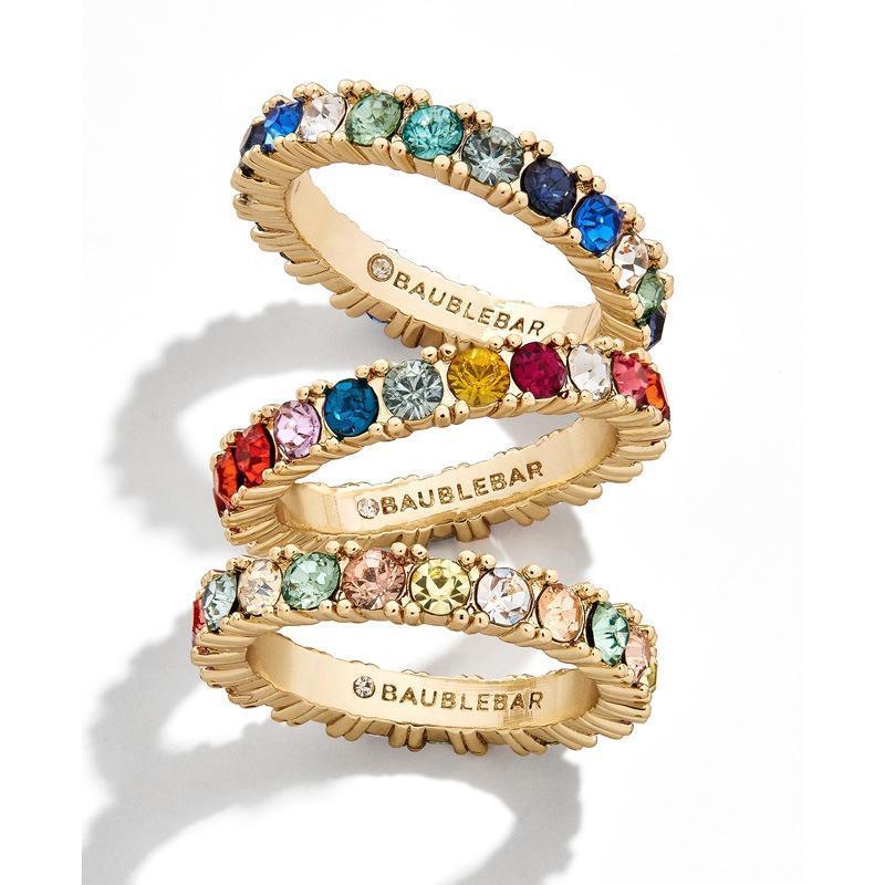Exquisita geometría femenina redonda de piedra anillo chapado en oro colorido de zircon diseño de anillos de boda para mujeres día de San Valentín