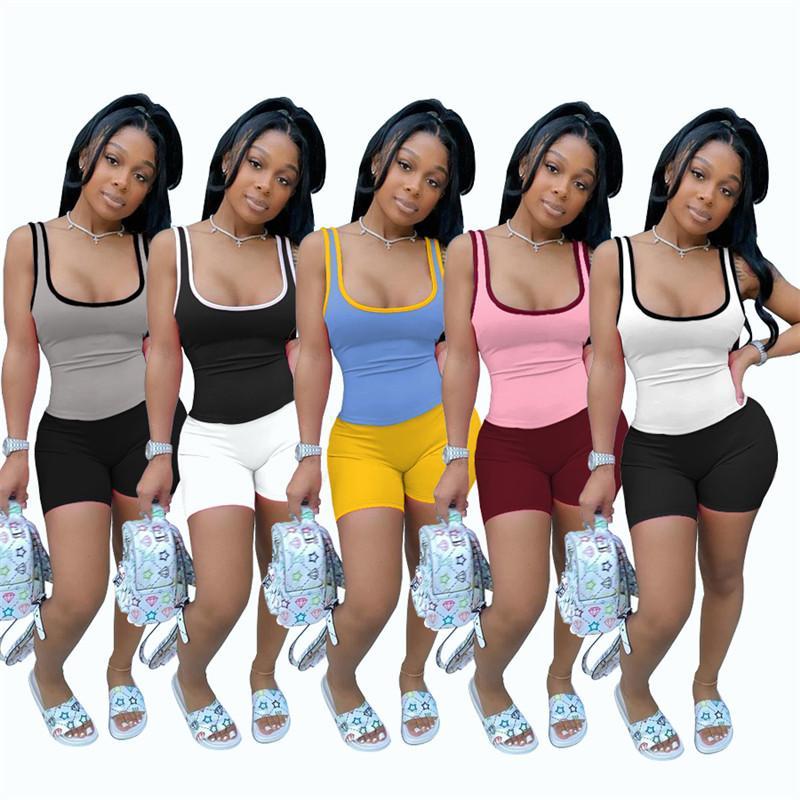 زائد الحجم 2xl الصيف ملابس النساء مثير اليوغا سترة السراويل الرياضية الدعاوى تانك القمم ركائز 2 قطعة مجموعات البلوز كابريس الساخن بيع 4507