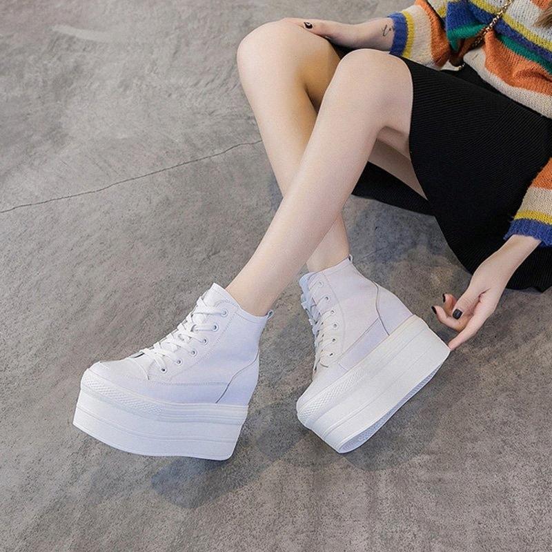 Sneaky de cuero genuino para mujer 2019 Otoño Invierno Alto Top Blanco / Negro Zapatillas de deporte negro Zapatillas de invierno cálido Zapatillas Casual Sneaker F12Z #