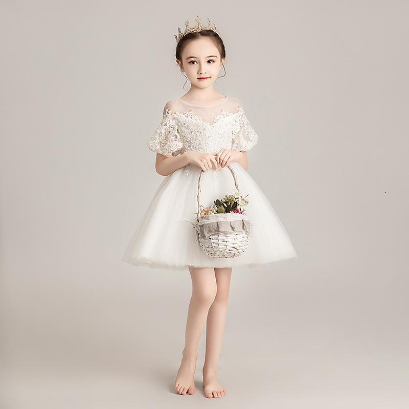 Белая принцесса цветок свадьба Peng детские вечерние девушки рояль спектакль зима