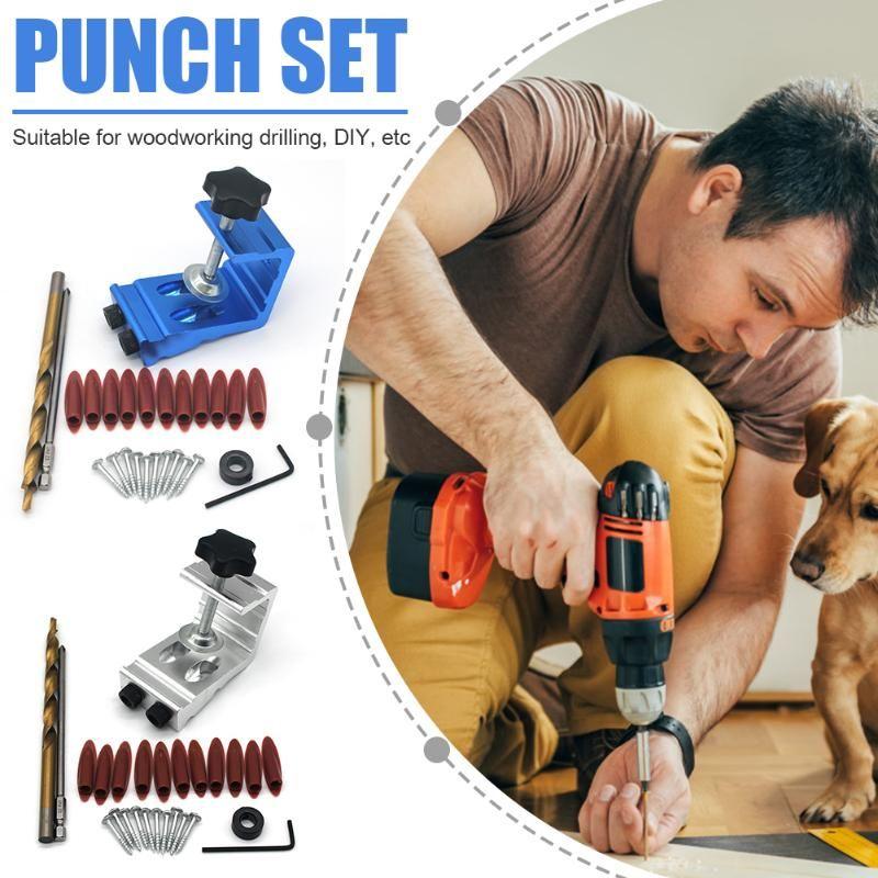المهنية أداة اليد مجموعات الإبداعية المائل هول محدد دليل الحفر puncher dowel jig كيت مع أدوات النجار 9 ملليمتر diy للنجارة