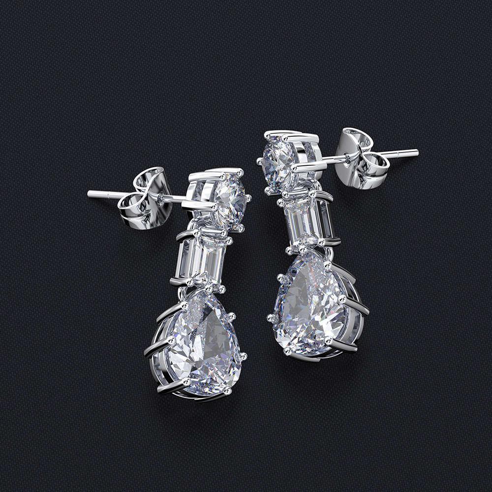 HBP moda luxo criativo feminino temperamento simples doce japonês e coreano banhado a ouro gota de água simulação de agulha de prata