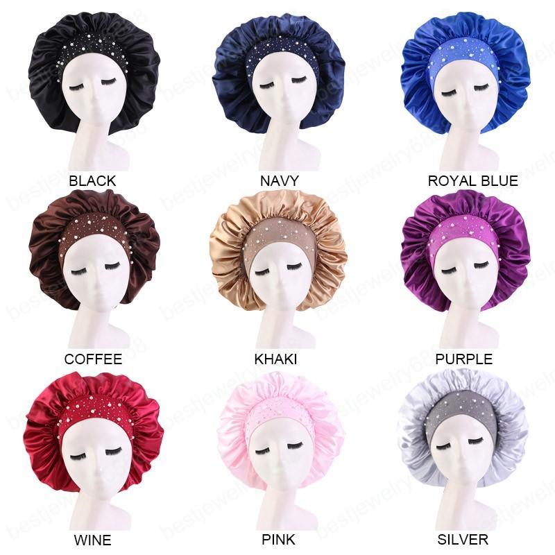 Yeni kadın saten rhinestone uyuyan şapka gece uyku kap saç bakımı salon makyaj kafa müslüman başörtüsü baş kapağı kaput şapka