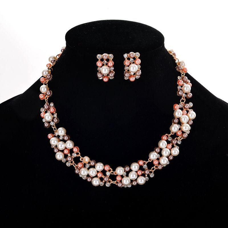 Bridal Wedding Jewelry Pearl Rhinestone Necklace Earring Set Wholesale Crystal Jewelry Set Wedding Party Jewelry Accessories