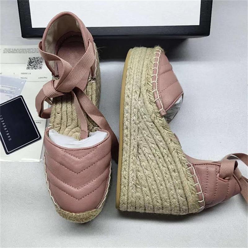 Kadın Deri Kama Platformu Espadrille Matelasse Deri Moda Grogren Kordon Platformu Sandalet Dolaşık Tuval Topuk Topuklu Tasarımcı Ayakkabı