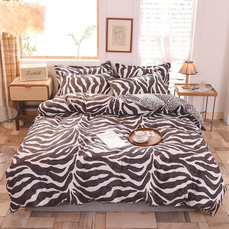 Bettwäsche-Sets Mode Leopard Set Kissenbezug Duvet Cover Single Double Queen King 220x240 Größe Bettwäsche Bett Bettlaken