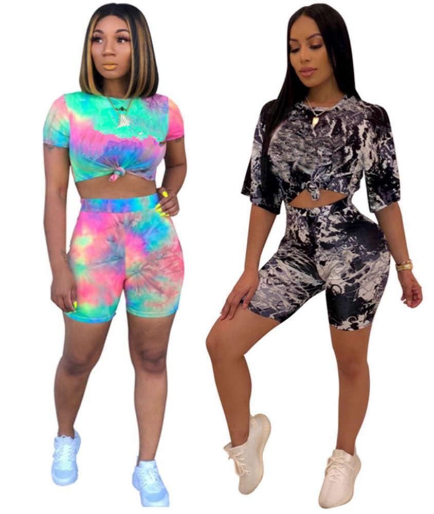 Летние женщины Jogger Suit Двухструктура набор черных трекселей градиентная футболка шорты Sportswear Pullover Leggings Outifits TEE верхние свита 2633