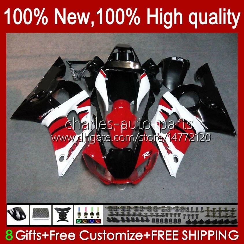 Bodys för Yamaha YZF-600 YZF R6 R 6 600cc YZFR6 1998 1999 00 01 02 Bodywork 1No.12 YZF 600 CC Cowling YZF-R6 98-02 YZF600 98 99 2000 2001 2002 ABS Fairing Kit Factory Red Blk