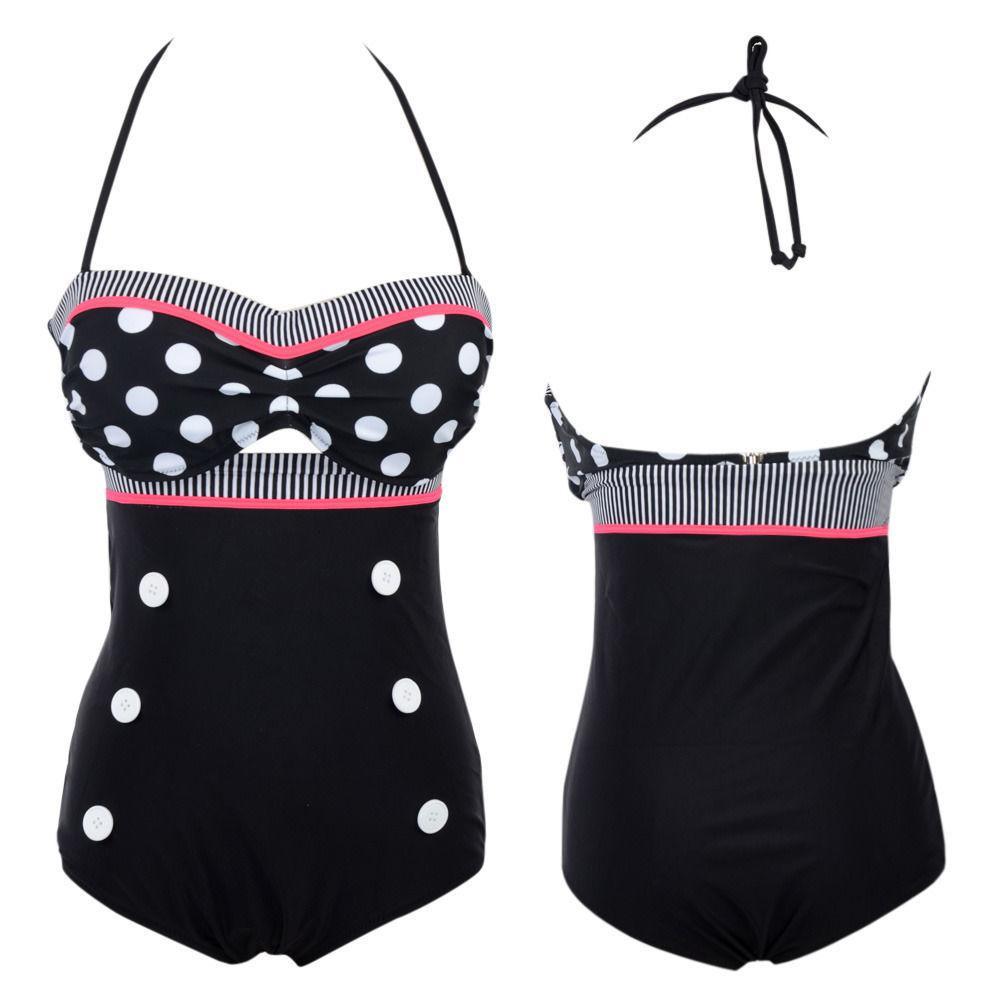 Su 151206 Cutest Retro Costume da bagno Costumi da bagno Vintage Pin Vintage High Like Bikini Set SZ Spedizione gratuita