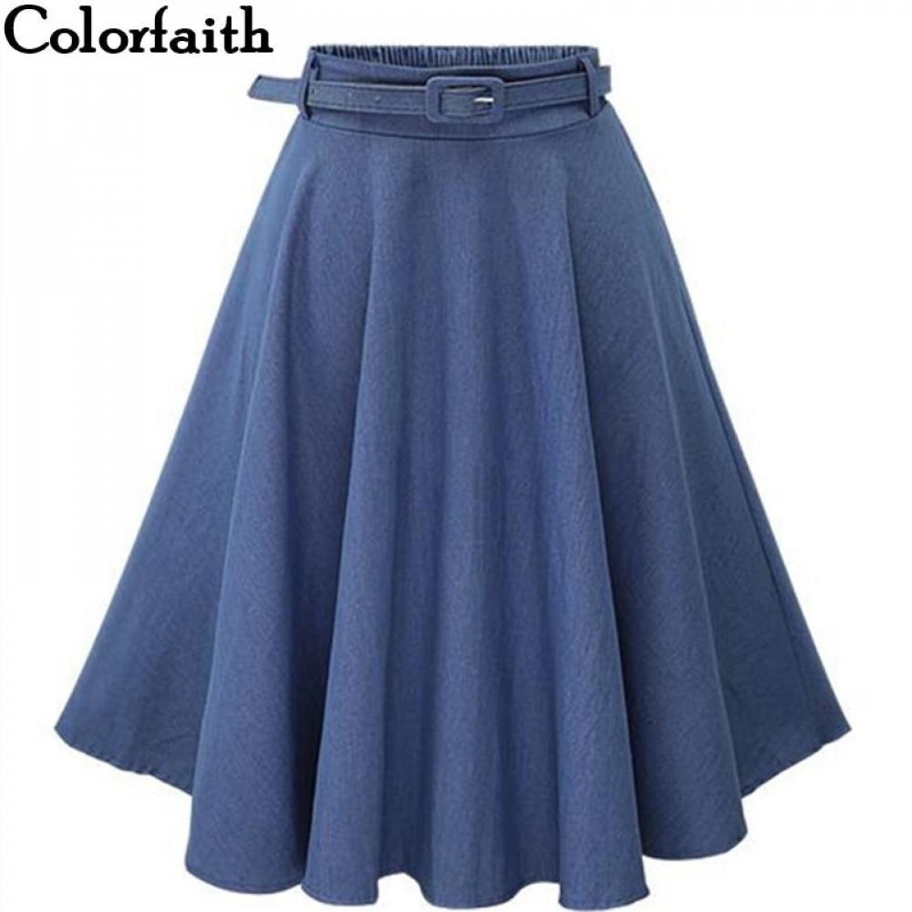 Otoño Invierno Moda Mujer Falda Vintage Retro Cintura Alta Plisada Falda Midi Falda Denim Amarreado Cinturón Falda Saia Femininas SK098 210305