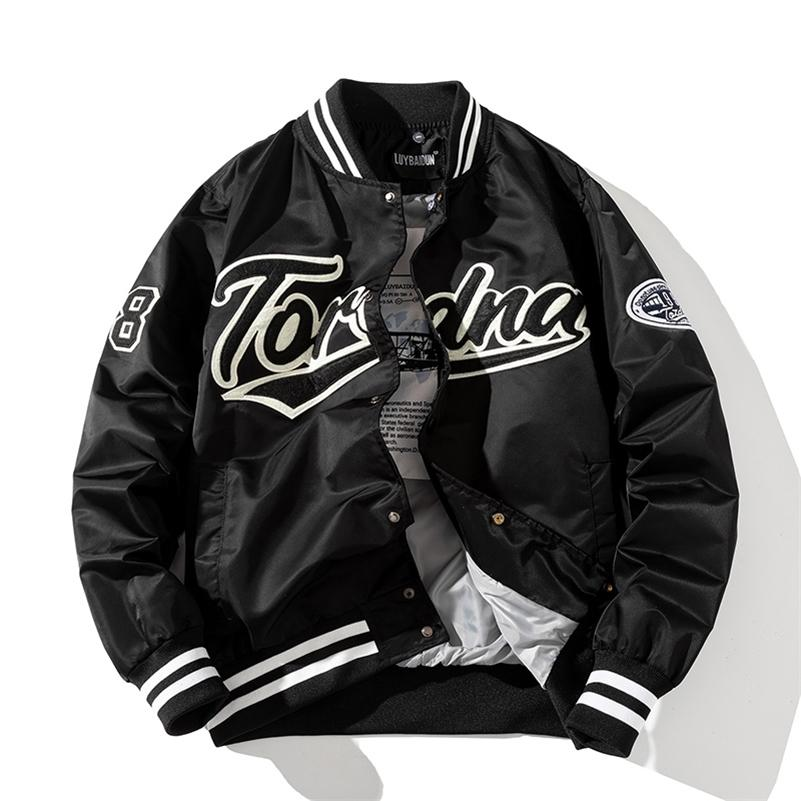 Hip Hop Baseball Jaqueta Homens Mulheres Bordado Casaco Letra Streetwear Jaqueta Moda Vintage Windbreaker Casais Primavera Outono 210924