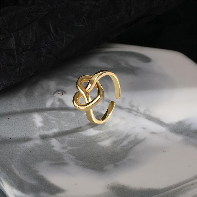 Silvologie 925 Sterling Silver Weave Heart Anneaux de coeur Pour Femmes Open-Open-Openwork Moulage intégré Simple Amants Anneaux Dames Valentine Bijoux