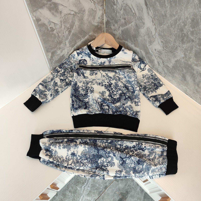 디자이너 키즈 캐주얼 후드 + 바지 세트 어린이 양복 브랜드 소녀 꽃 인쇄 가을 의류 코튼 티즈 크기 90-140 형제 및 자매 의상