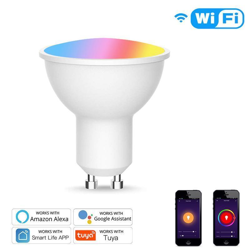 Tuya Gu10 Smart Voice Control Lamp Lampada wifi LED RGB Light DimMable 4W RGBCW Lampada LED Lampada colorata Change Bulb Decor Home Smart Life