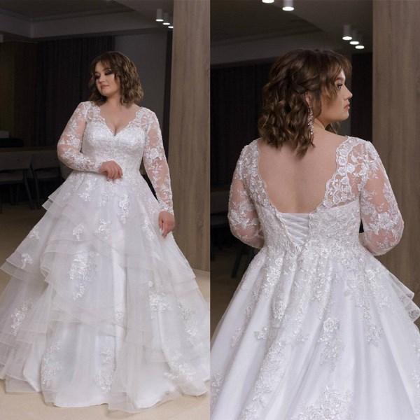 Long Sleeves Wedding Dresses Lace Applique Tiered Skirt Tulle Corset Back 2021 vestido de novia Plus Size Wedding Bridal Gown Custom Made