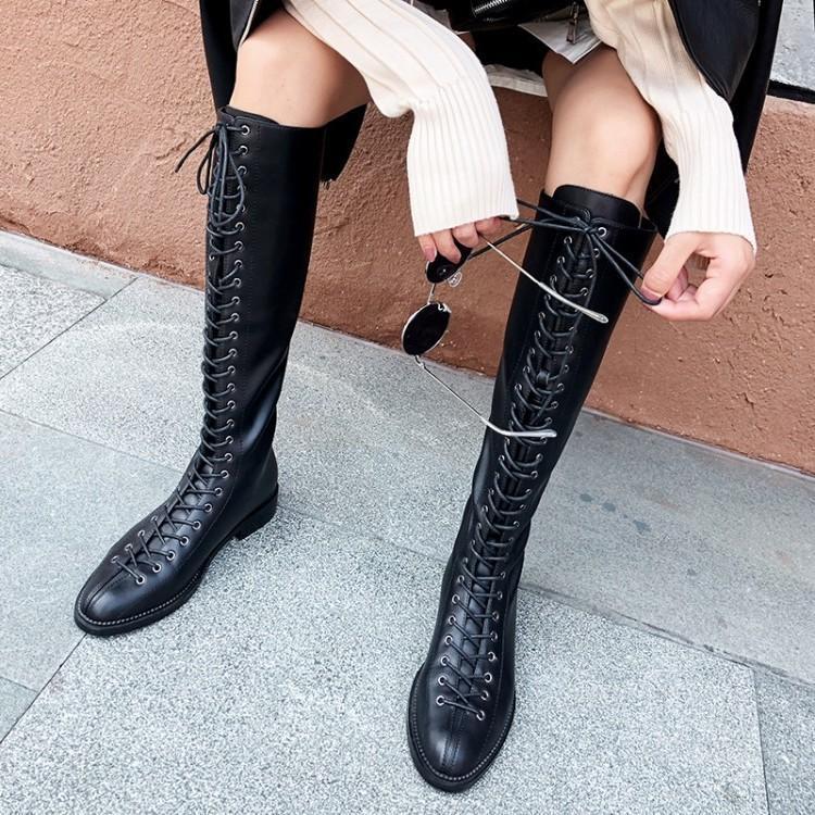 Кожаный рыцарь обратно на молнию 2021 повязка высокие женские длинные ботинки