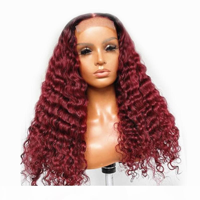 13x6 Glueless Deep Wave Burgund Spitze Frontperücken 1b 99J Spitze Vordere Menschenhaar Perücken Gelockte Ombre Wine Rote Perücken Prepucked Haare