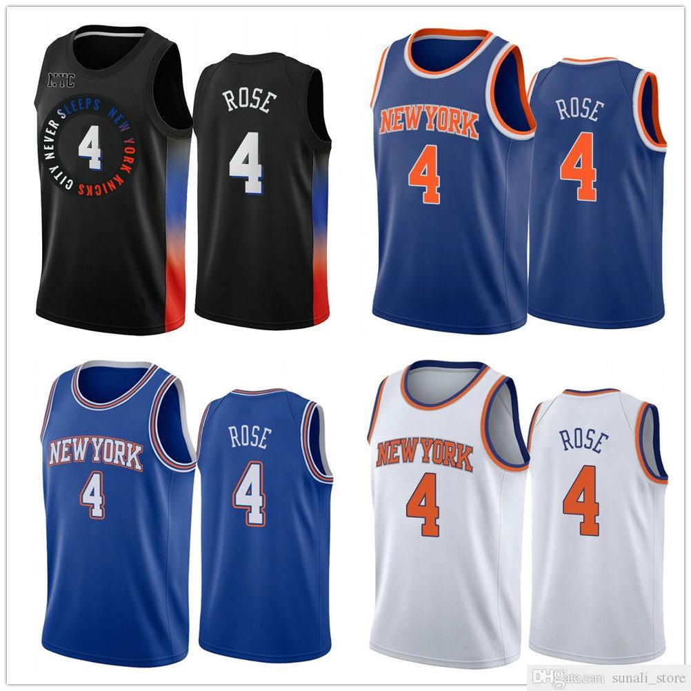 2021 Novo Estilo 4 Derrick Rose Jerseys Marinho Azul Branco Cor Basquete 4 Rose Jersey City Camisas
