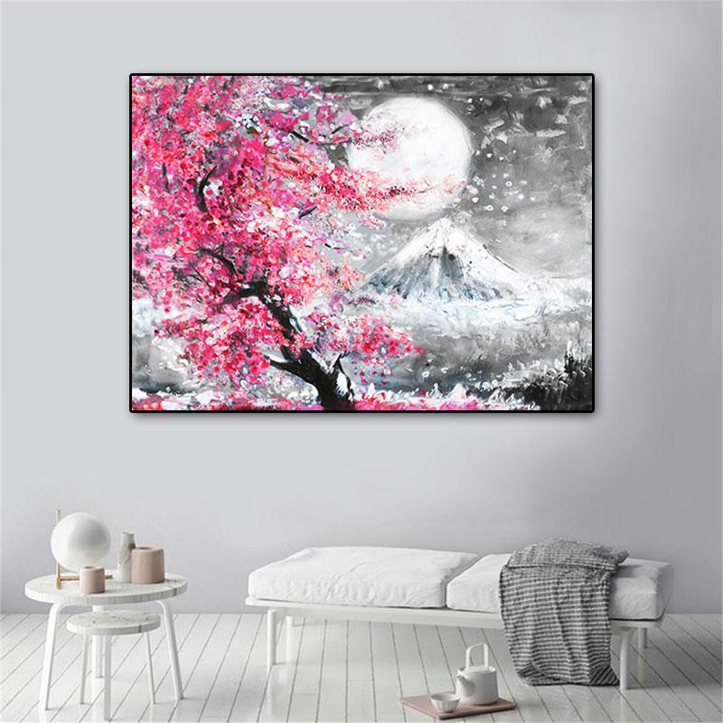 Monte Fuji Cherry Blossom Paisagem Japão Pintura de lona de parede Poster Óleo Impressões HD Fotos para a sala de estar Decoração de casa