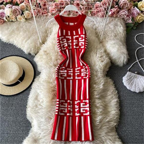 짧은 섹시한 미니 드레스 2021 여름 패션 여성 니트 드레스 여성 파티 밤 민소매 인쇄 우아한 가운 Femme 섹시한 클럽 Bodycon Dres
