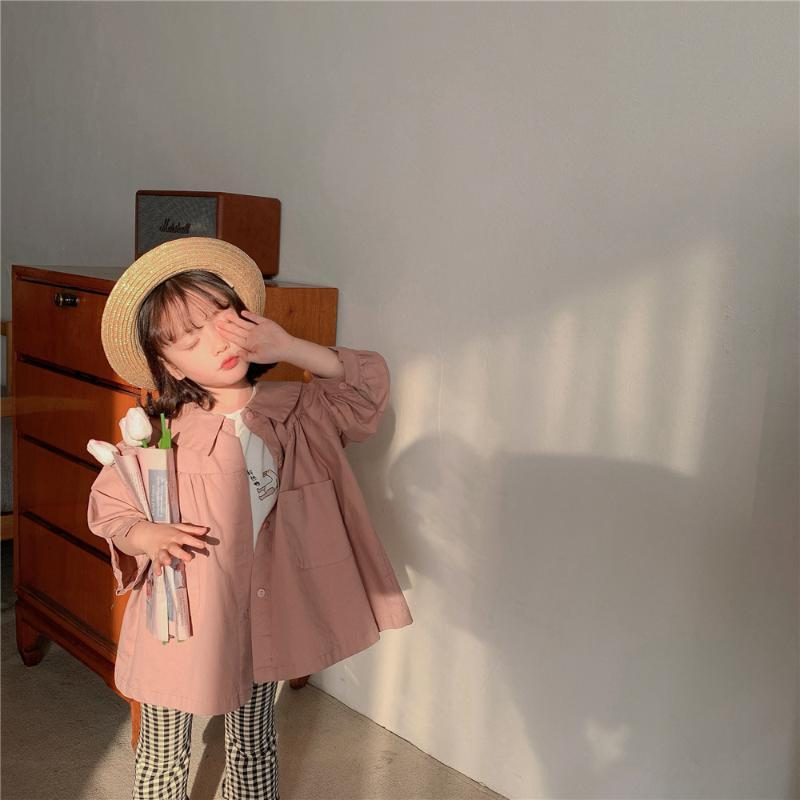 2021 Mode Frühling Herbst Mädchen Staubmantel Kinder Windjacke Kleinkind Mädchen Trenchcoat Baumwolle Großen Bogenknoten Single-Breasting