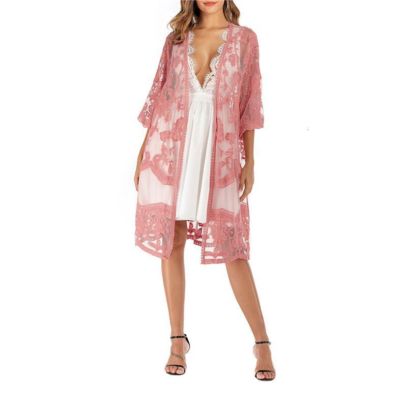 Сексуальные женские блузка половина рукава Цветочный узор Кружева HEM Длинные Топы Пляжная одежда Обложка Купальник Beachwear Sundressn8