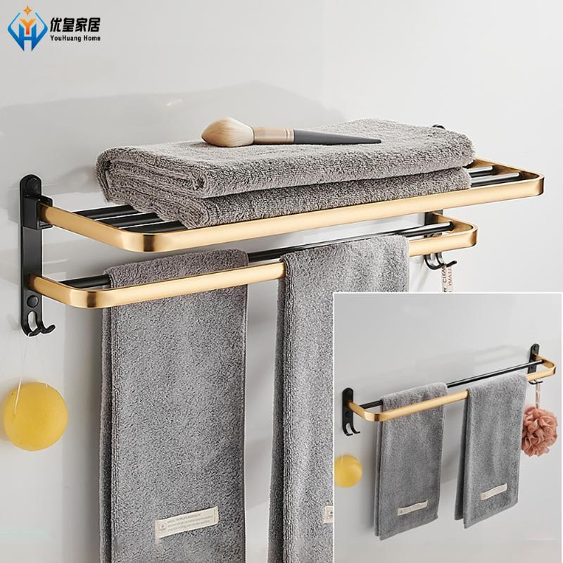 Towel Racks Folding Bar Wall-Mounted Black Gold With Hook 50-60CM Storage Shower Shelf Bathroom Accessories Organizer