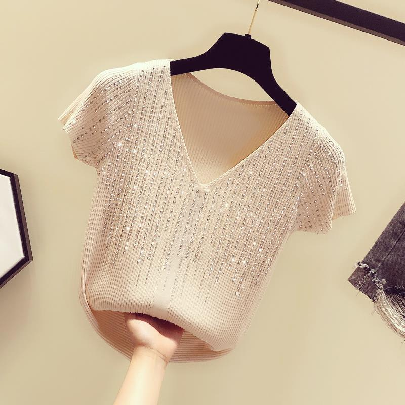 Hot drilling ice silk sweater slim V-neck T-shirt 2021 summer new sexy short-sleeved shirt