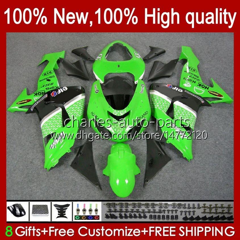 OEM-carrosserie voor Kawasaki Ninja ZX1000 ZX-10R ZX1000CC 06-07 Moto Body 14NO.11 ZX 10R 10 R 1000 CC 1000CC 2006 2007 ZX10R 06 07 ZX1000C 2006-2007 Valerijen Groen Zwart