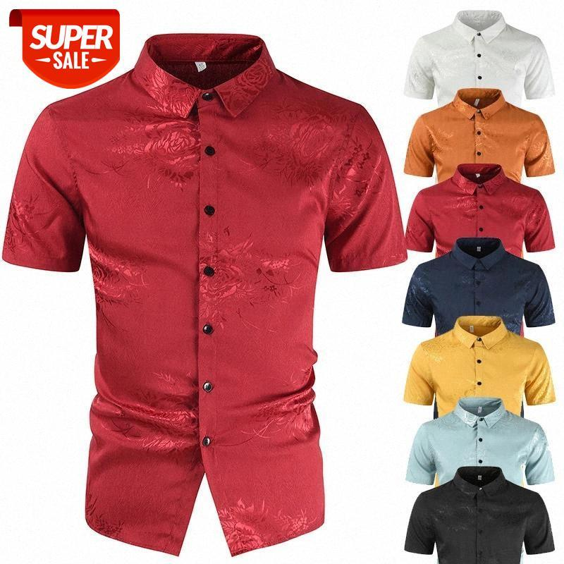 Hommes Vêtements 2021 Nouveau été Coton Mercerisé Men's Casual Broderie 3D Chemise imprimée Camisas Para Hombre # N13S