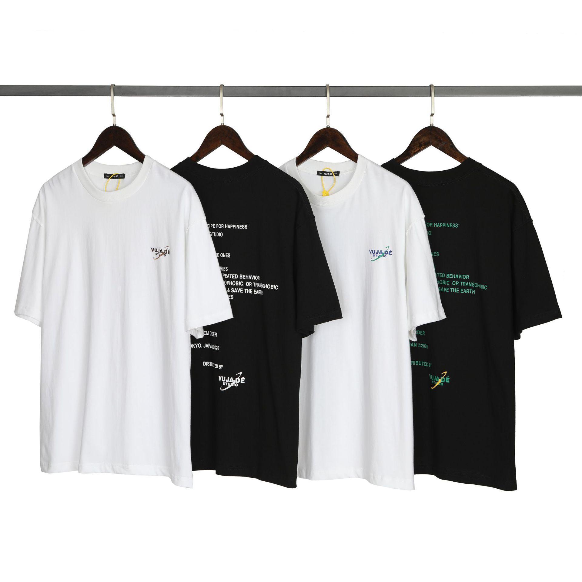 VUJADE Vintage T Shirts Hombres Mujeres Slogan Tee New Designer T Shirt 2021 Hip Hop Oversized Top Ropa